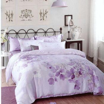 【Love City寢城之戀】頂級TENCEL天絲【卉影紫】雙人六件式兩用被床罩組(5X6.2尺)