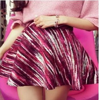 [協賀]彩色線條高腰半身裙
