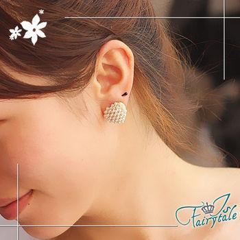 【伊飾童話】珍珠愛心*香檳金鑽耳環