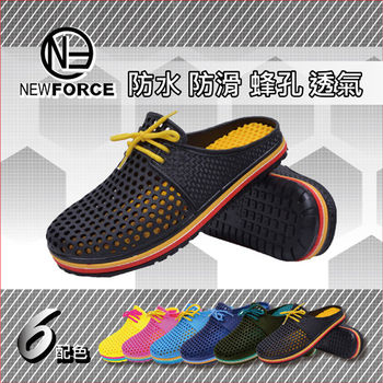 【NEW FORCE】超動感軟Q情侶洞洞鞋-(1入-男款黑色)