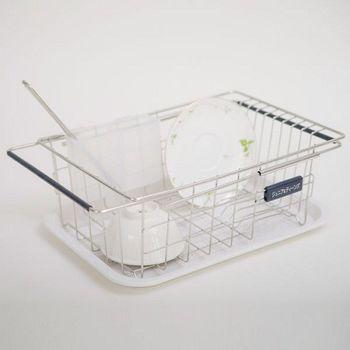 《舒適屋》不鏽鋼二用伸縮水漕架/瀝水架/碗盤架(附美奈瀝水盤)