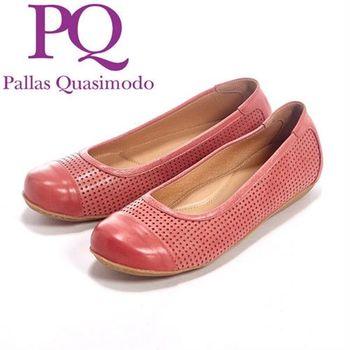 PQ 素面鏤口洞洞設設計休閒內增高鞋女鞋-紅