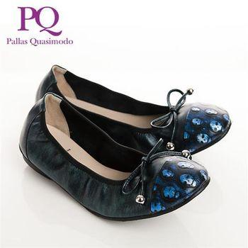 PQ 真皮復古ROCK骷髏頭束口鞋女鞋-藍
