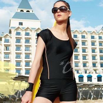 【沙麗品牌】素雅顯瘦款式時尚假二件式短袖泳裝NO.5109(現貨+預購)