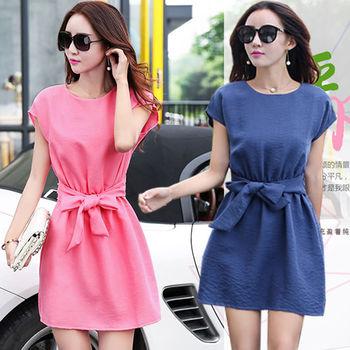 【A3】極簡佳人 純色亞麻棉 顯瘦修身 洋裝 ( 粉 / 綠 / 藍 ) 3色選 M~XL