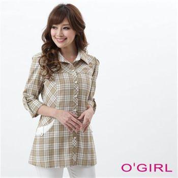 【OGIRL】率性格紋長版襯衫