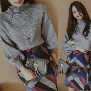[協賀]高領毛衣+毛呢半身裙