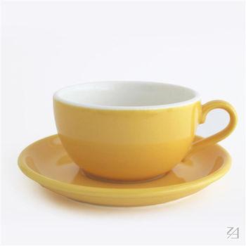 日本 ORIGAMI 摺紙咖啡陶瓷 拿鐵碗盤組 414ml (蛋黃色)
