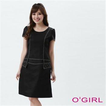 【OGIRL】優雅合身短袖洋裝