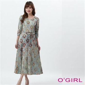 【OGIRL】蕾絲合身中長長袖洋裝