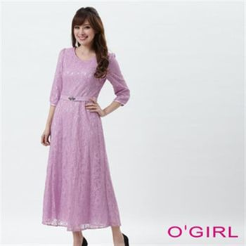 【OGIRL】蕾絲合身中長洋裝