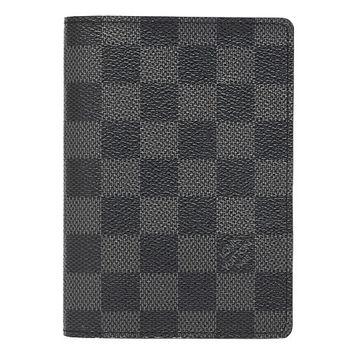 LV N60031 經典Damier Graphite護照夾(黑灰格)