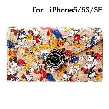 iJacket 迪士尼 iPhone SE/5/5s 信封系列 折疊式側掀皮套 附掛鍊 - 米奇米妮