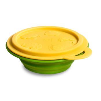 【MARCUS&MARCUS】動物樂園矽膠摺疊碗-長頸鹿(黃碗蓋/草綠碗)