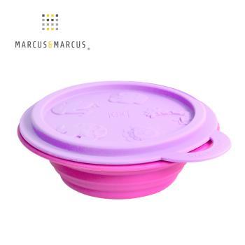 【MARCUS&MARCUS】動物樂園矽膠摺疊碗-鯨魚(紫碗蓋/桃紅碗)