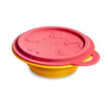 【MARCUS&MARCUS】動物樂園矽膠摺疊碗-獅子(紅碗蓋/黃碗)