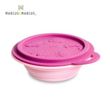 【MARCUS&MARCUS】動物樂園矽膠摺疊碗-粉紅豬(紫紅碗蓋/粉紅碗)