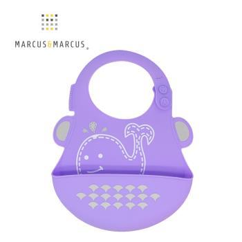 【MARCUS&MARCUS】動物樂園矽膠立體圍兜-鯨魚