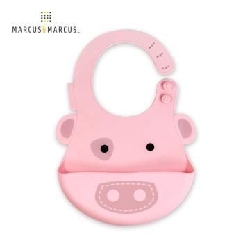 【MARCUS&MARCUS】動物樂園矽膠立體圍兜-粉紅豬