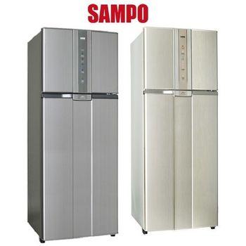 雙重送【SAMPO聲寶】460L智慧節能變頻一級雙門冰箱SR-N46D(灰)