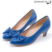 莎曼莎 鞋~MIT全真皮~完美腿型大蝴蝶結飾微尖頭中跟鞋 #45 #35 14302 水漾