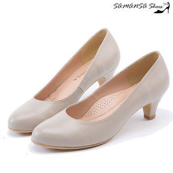 莎曼莎手工鞋【MIT全真皮】圓頭經典完美包覆微粗跟中跟鞋-#14301 優雅米