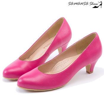 莎曼莎手工鞋【MIT全真皮】圓頭經典完美包覆微粗跟中跟鞋-#14301 俏麗桃