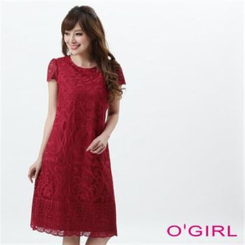 【OGIRL】氣質女伶立體大蕾絲短袖洋裝