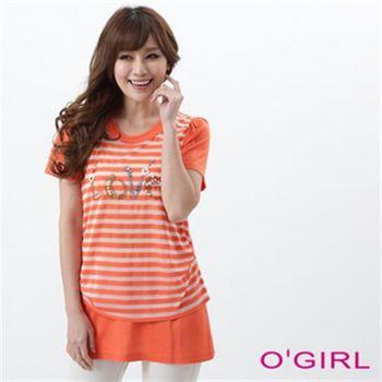 【OGIRL】豔彩橫紋短袖長版上衣