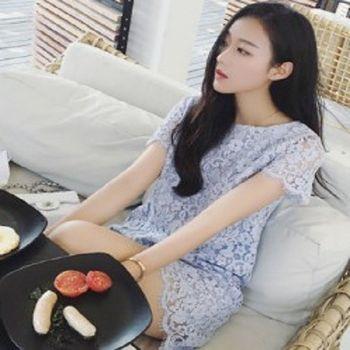 [協賀]鉤花蕾絲連衣裙