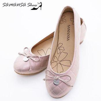 莎曼莎手工鞋【MIT全真皮】金屬Logo 蝶飾 菱紋娃娃鞋-#14201 玫瑰金