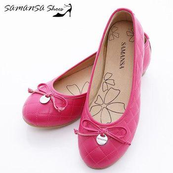 莎曼莎手工鞋【MIT全真皮】金屬Logo 蝶飾 菱紋娃娃鞋-#14201 俏麗桃