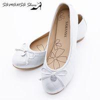 莎曼莎 鞋~MIT全真皮~金屬Logo 蝶飾 菱紋娃娃鞋 ^#45 ^#35 14201