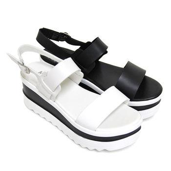 【Pretty】韓系簡約寬帶鬆糕厚底涼鞋-白色、黑色