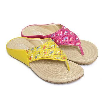 【Pretty】中國風彩扇刺繡平底夾腳拖鞋-桃紅色、黃色