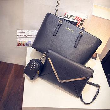 。DearBaby。韓系風尚信封肩背包三件組(黑色)*預購