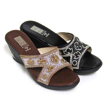 【Pretty】奢華晶亮排鑽楔型拖鞋-咖啡色、黑色