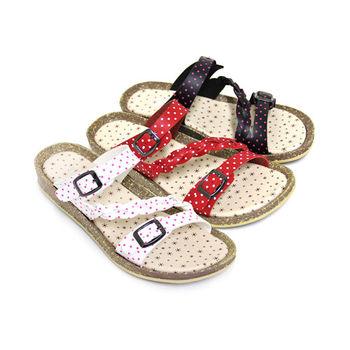 【Pretty】點點雙環扣斜編織平底拖鞋-紅色、白色、黑色
