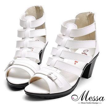 【Messa米莎專櫃女鞋】MIT美式街頭羅馬編織內真皮粗跟涼鞋-白色