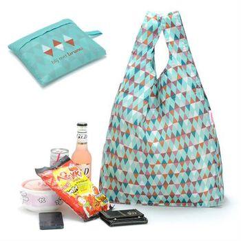 【ZARATA】菱形格紋綢面尼龍布可折疊購物手提袋