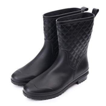 TTSNAP雨靴-俏甜顯瘦小香菱格紋中筒防水靴-黑