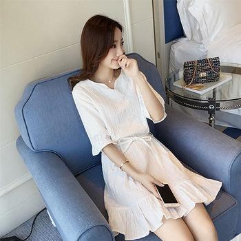 。DearBaby。韓版舒適荷葉邊連衣裙-(預購)