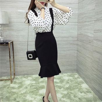 。DearBaby。韓風復古點點雪紡百搭上衣+吊帶裙兩件組(共兩色)*預購