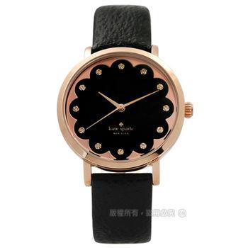 kate spade / 1YRU0583 / 花朵綻放璀璨之星真皮手錶 黑x玫瑰金框 34mm