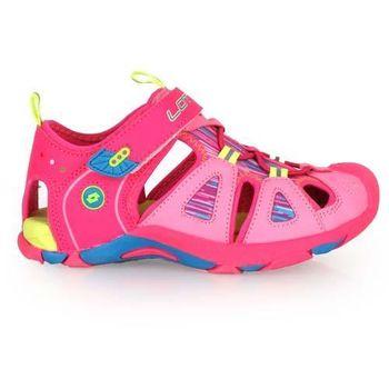 【LOTTO】男女中童護趾運動涼鞋-休閒涼鞋 魔鬼氈 童鞋 粉紅