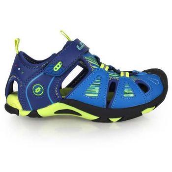 【LOTTO】男女中童護趾運動涼鞋-休閒涼鞋 魔鬼氈 童鞋 藍