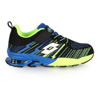 【LOTTO】男女中童編織款慢跑鞋-兒童鞋 彈簧鞋 黑藍綠