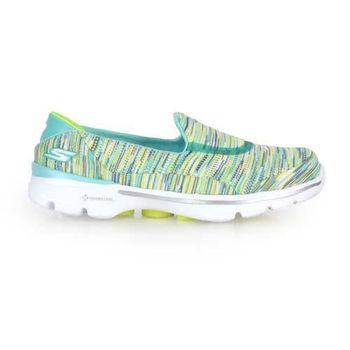 【SKECHERS】GO WALK 3-CRAZED女休閒健走鞋-休閒鞋 湖水綠黃