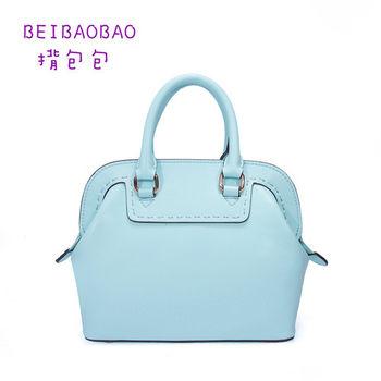 【BEIBAOBAO】繽紛馬卡龍真皮手提側背包(粉霧藍 共六色)