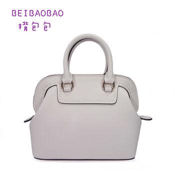 【BEIBAOBAO】繽紛馬卡龍真皮手提側背包(天使白 共六色)